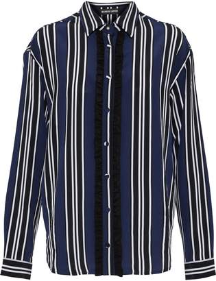 Markus Lupfer Clara Ruffle-trimmed Striped Silk Shirt