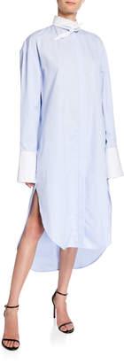 Deveaux New York Button-Down Tie-Collar Shirtdress with Mini Stripe Details