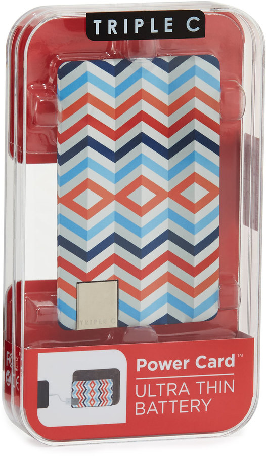 Triple C Designs America Aztec Power Card Ultra-Thin Charger, Blue/Red/Multi