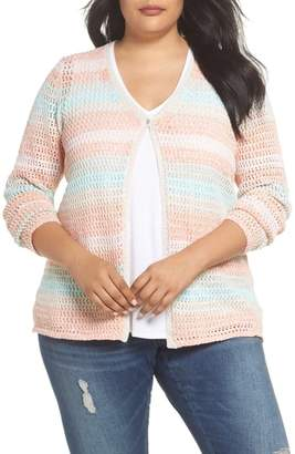 Foxcroft Laurie Stripe Open Stitch Cardigan