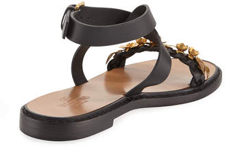 Valentino Embellished Leather Ankle-Strap Sandals