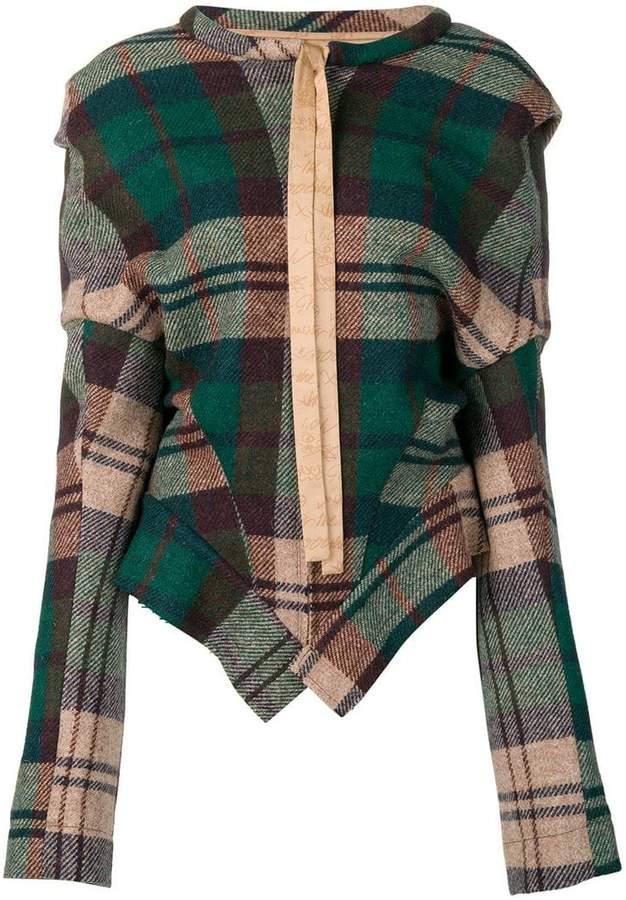 asymmetric tartan jacket