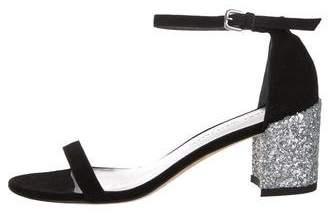 Stuart Weitzman Suede Embellished Ankle Strap Sandals