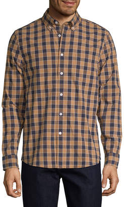 ST. JOHN'S BAY Mens Long Sleeve Checked Button-Front Shirt