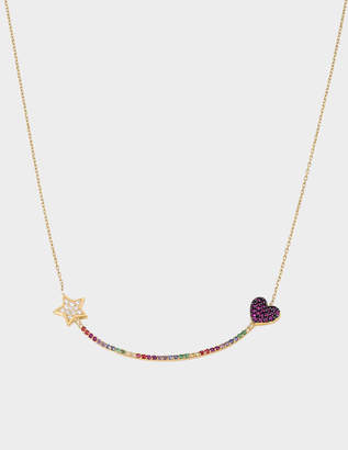 Anton Heunis Heart and Star Eternity Necklace in 14K Gold and Diamonds