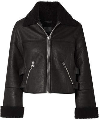 RtA Albany Shearling-trimmed Leather Jacket - Black