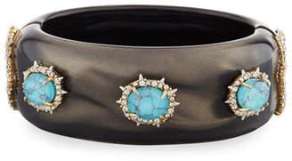 Alexis Bittar Medium Square Lucite Bracelet, Gray/Turquoise
