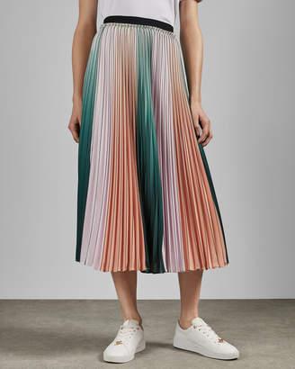 Ted Baker SELMMA Pleated striped midi skirt