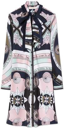 Tory Burch PRINTED FRINGE BOW SHIRTDRESS