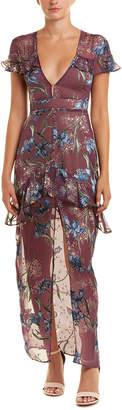 For Love & Lemons For Love + Lemons Cleo Silk-Blend Maxi Dress