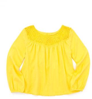 Ralph Lauren Lace-Yoke Blouson Top, Sunfish Yellow, Sizes 4-6X