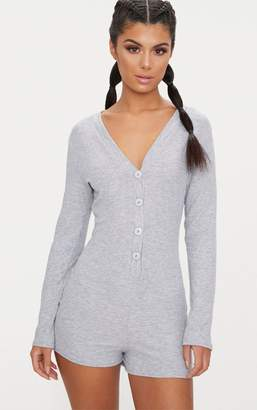 PrettyLittleThing Grey Marl Ribbed Button Detail PJ Romper