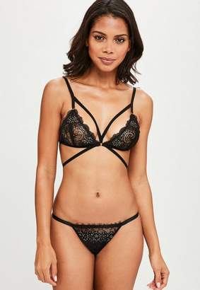 Missguided Black Lace Diamante Detail Bra