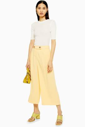 Topshop Womens Cropped Wide Leg Trousers - Buttermilk