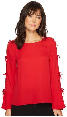 CeCe Long Sleeve Lightweight Crepe Blouse w/ Bow Detail Women's Blouse