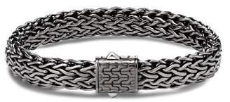 John Hardy Sterling Silver Classic Chain Matte Black Rhodium Wide Flat Chain Bracelet