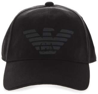 Emporio Armani Black Cotton Embroidery Logo Hat