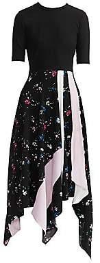 Maje Women's Rilla Floral Two-Tone Patch Midi Dress