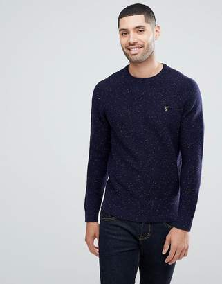 Farah Bagod Slim Fit Textured Knitted Sweater In Navy