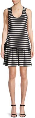 Derek Lam 10 Crosby Striped Jersey Scoop-Neck Mini Dress