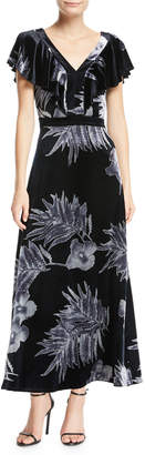 Lafayette 148 New York Portia Floral-Print Velvet Dress