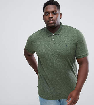 Original Penguin Big & Tall chunky rib mouline polo slim fit embroidered logo in dark green marl