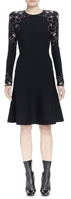 Alexander McQueen Long-Sleeve Knit Rose Jacquard Dress $2,835 thestylecure.com
