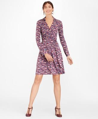 Brooks Brothers Deer-Print Jersey Faux Wrap Dress