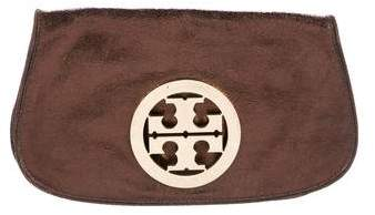 Tory Burch Metallic Grained Leather Jamie Clutch - BROWN - STYLE