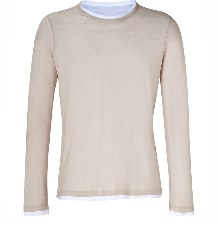 Majestic Nude/White Double Layer Cotton T-Shirt