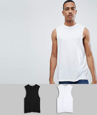 Asos Design DESIGN Tall relaxed sleeveless t-shirt with dropped armhole 2 pack MULTIPACK SAVING