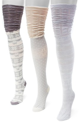 Muk Luks 3-pk. Women's Microfiber Fairisle Over-the-Knee Socks