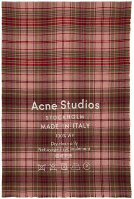 Acne Studios Pink Cassiar Check Scarf