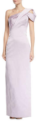 Zac Posen One-Shoulder Wrapped-Front Gown