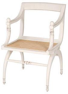 Reyes Allan Regency-Style Cane & Wood Desk Chair