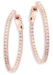 "Rose Goldplated Cubic Zirconia Inside Out Hoop Earrings/1"""