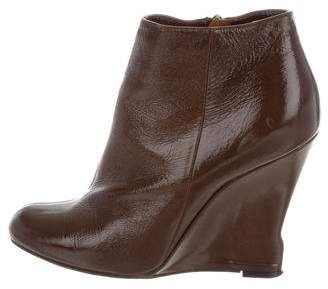 Lanvin Patent Leather Wedge Booties