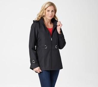 Susan Graver Water Resistant Zip-Front Jacket with Grommet Trim