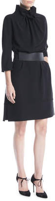 Emporio Armani Ruched High-Collar Easy Belted Tech Cady Dress