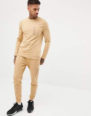 Asos DESIGN tracksuit muscle sweatshirt/skinny sweatpants with MA1 pocket