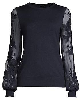 10466c4d9f38 Elie Tahari Women s Waneta Wool  Silk Embroidered Sweater