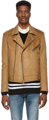 Balmain Tan Biker Jacket
