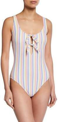 Kate Spade Bunny Tie Striped One-Piece Swimsuit