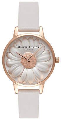 Olivia Burton Analog Daisy Leather Strap Watch