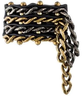 Lanvin Woven Leather & Chain Crystal Bracelet