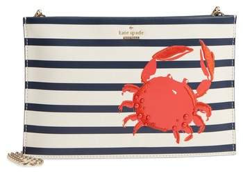 Kate Spade Shore Thing - Stripe Sima Leather Shoulder Bag - WHITE - STYLE