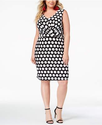 INC International Concepts I.N.C. Plus Size Printed Faux-Wrap Sheath Dress, Created for Macy's