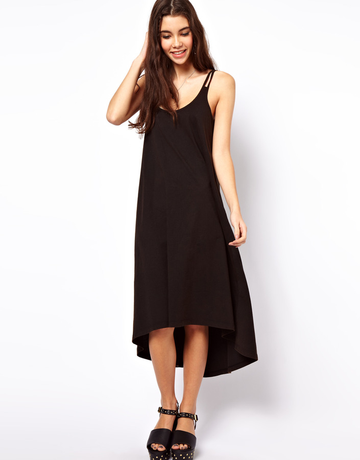 Asos Midi Sundress With High Low Hem And Strap Detail