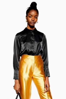 Topshop Black Satin Button Down Shirt