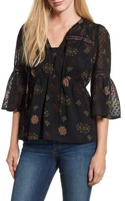 Lucky Brand Swiss Dot Sheer Floral Blouse